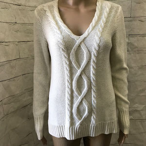 NWT~CHAPS Cream Gold Sparkle Pullover Sweater Sz M